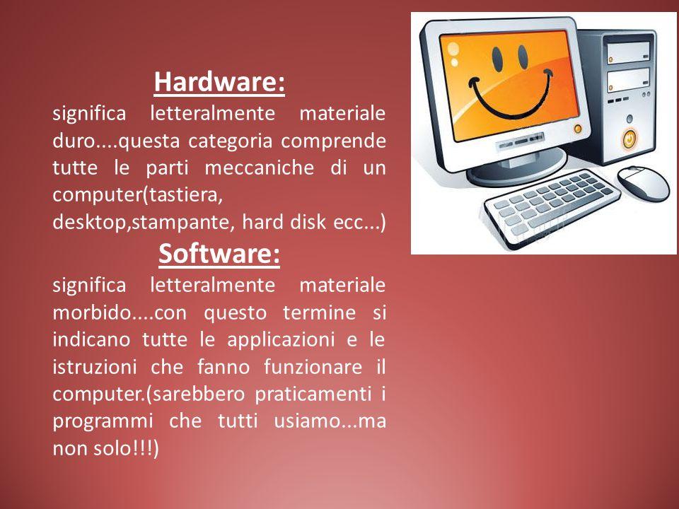 Hardware: significa letteralmente materiale duro....questa categoria comprende tutte le parti meccaniche di un computer(tastiera, desktop,stampante, h