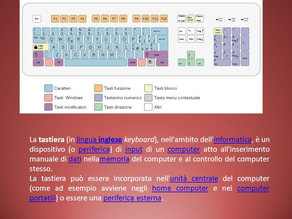 La tastiera (in lingua inglese keyboard), nell'ambito dell'informatica, è un dispositivo (o periferica) di input di un computer atto all'inserimento m