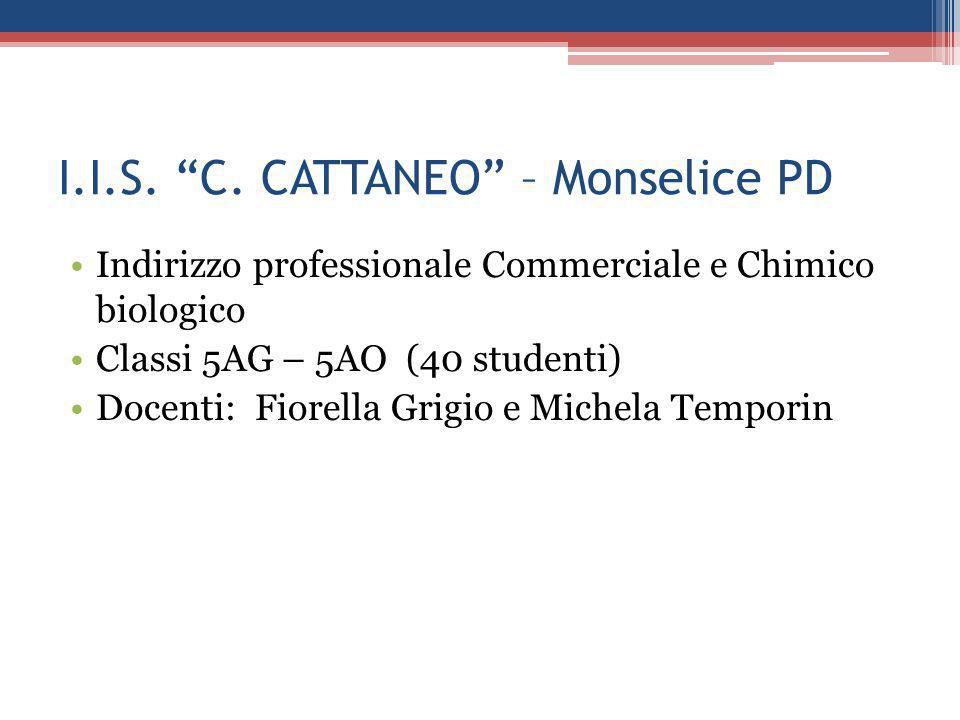 """I.I.S. """"C. CATTANEO"""" – Monselice PD Indirizzo professionale Commerciale e Chimico biologico Classi 5AG – 5AO (40 studenti) Docenti: Fiorella Grigio e"""