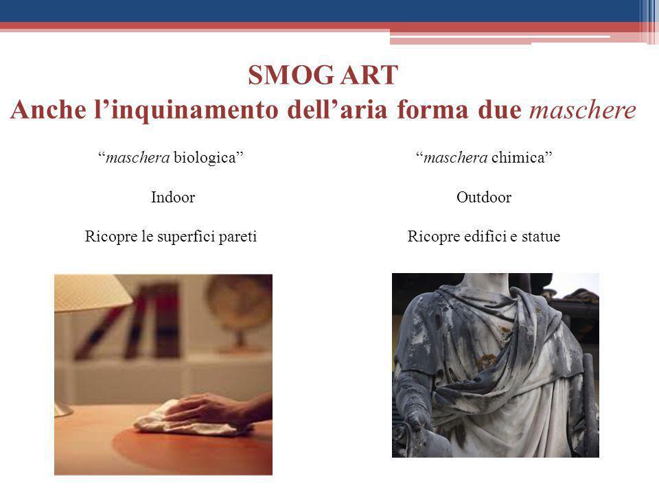 """SMOG ART Anche l'inquinamento dell'aria forma due maschere """"maschera biologica"""" Indoor Ricopre le superfici pareti """"maschera chimica"""" Outdoor Ricopre"""