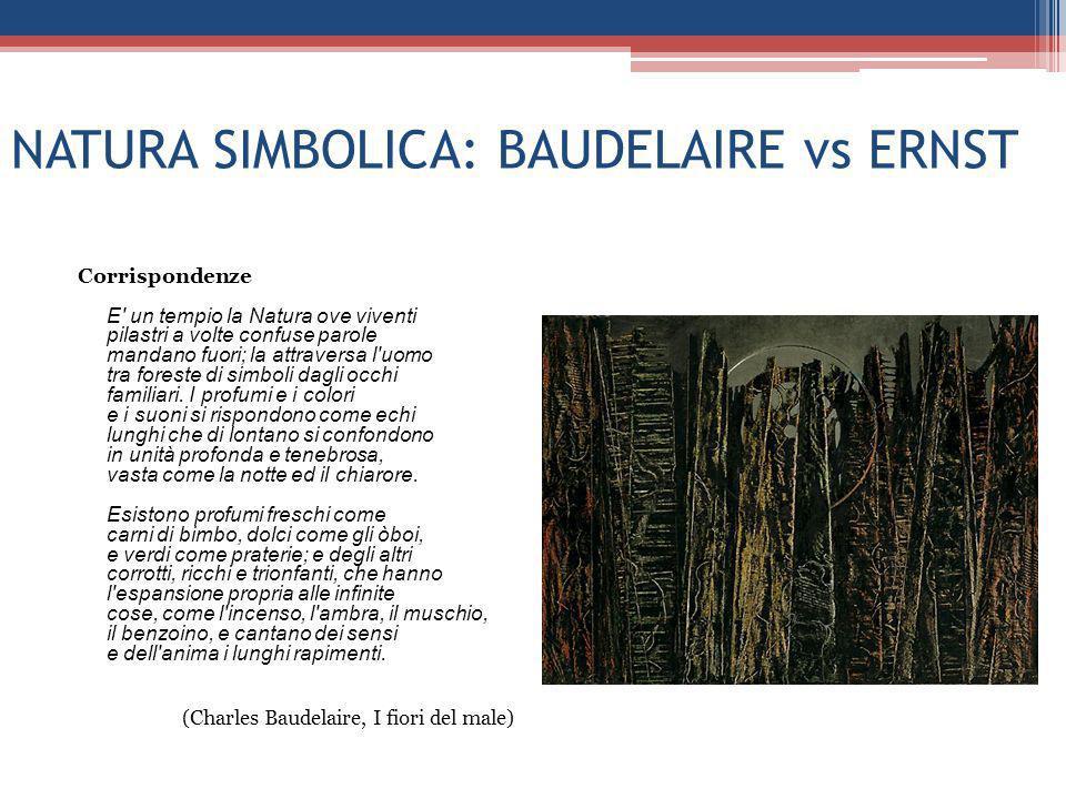 NATURA SIMBOLICA: BAUDELAIRE vs ERNST Corrispondenze E' un tempio la Natura ove viventi pilastri a volte confuse parole mandano fuori; la attraversa l
