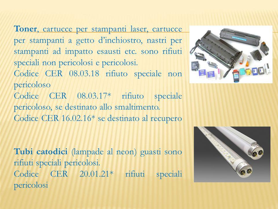 Toner, cartucce per stampanti laser, cartucce per stampanti a getto d'inchiostro, nastri per stampanti ad impatto esausti etc. sono rifiuti speciali n