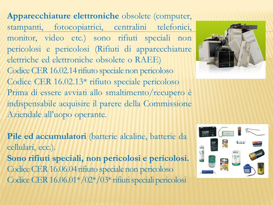 Apparecchiature elettroniche obsolete (computer, stampanti, fotocopiatrici, centralini telefonici, monitor, video etc.) sono rifiuti speciali non peri