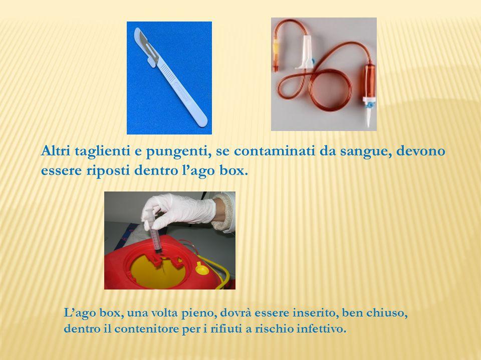 Altri taglienti e pungenti, se contaminati da sangue, devono essere riposti dentro l'ago box. L'ago box, una volta pieno, dovrà essere inserito, ben c