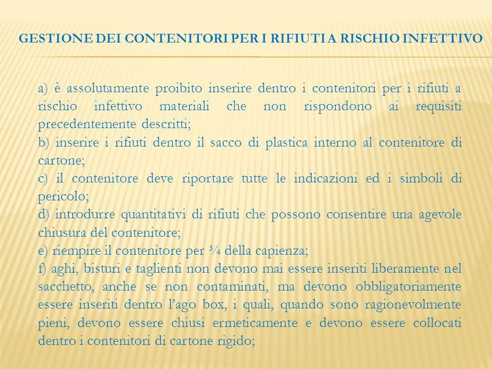 a) è assolutamente proibito inserire dentro i contenitori per i rifiuti a rischio infettivo materiali che non rispondono ai requisiti precedentemente