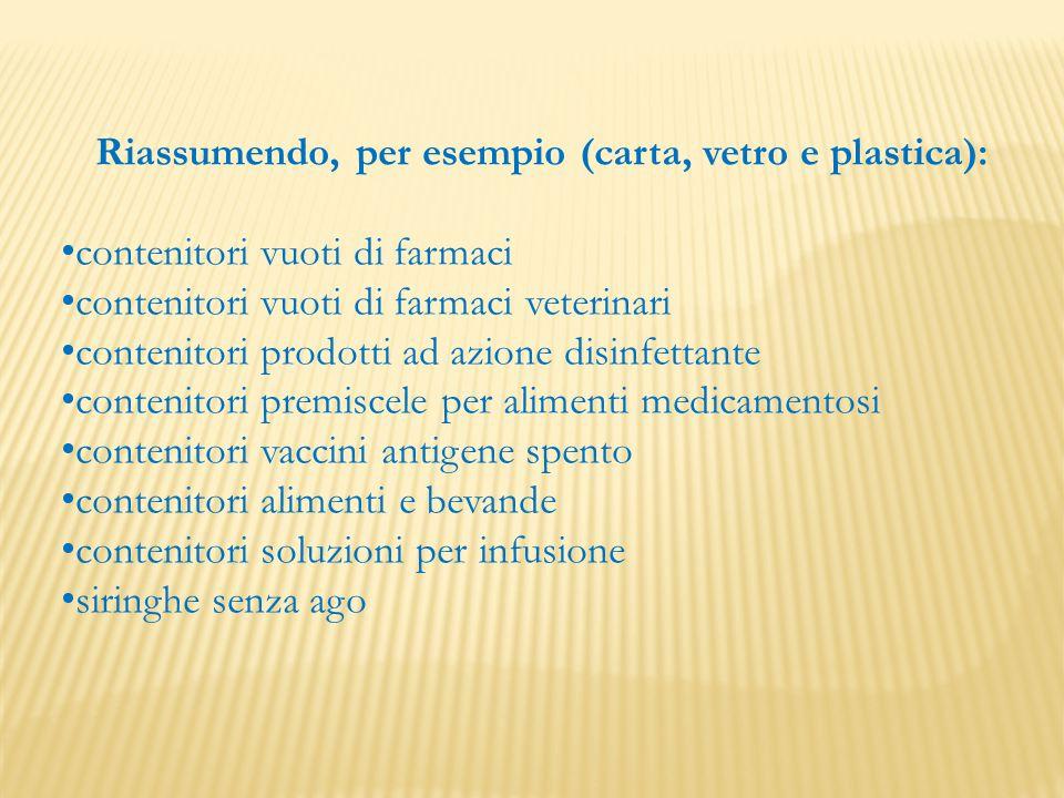 Riassumendo, per esempio (carta, vetro e plastica): contenitori vuoti di farmaci contenitori vuoti di farmaci veterinari contenitori prodotti ad azion