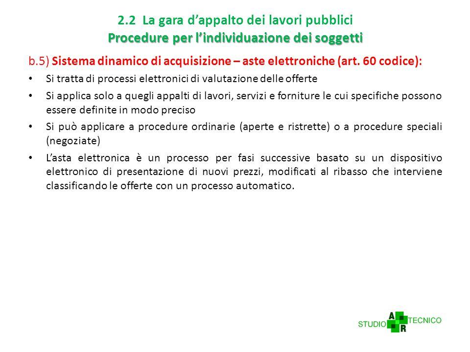 Procedure per l'individuazione dei soggetti 2.2 La gara d'appalto dei lavori pubblici Procedure per l'individuazione dei soggetti b.5) Sistema dinamico di acquisizione – aste elettroniche (art.