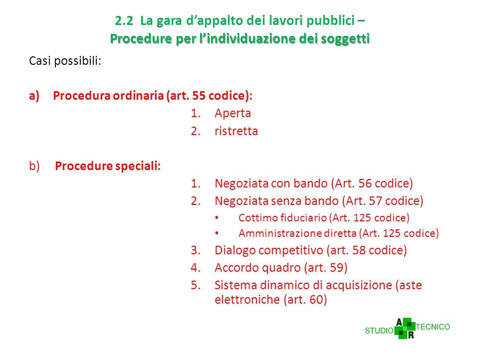 Procedure per l'individuazione dei soggetti 2.2 La gara d'appalto dei lavori pubblici – Procedure per l'individuazione dei soggetti Casi possibili: a)Procedura ordinaria (art.