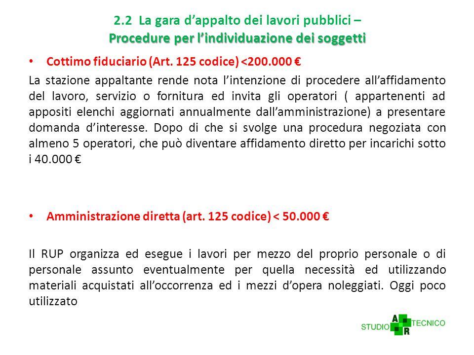 Procedure per l'individuazione dei soggetti 2.2 La gara d'appalto dei lavori pubblici – Procedure per l'individuazione dei soggetti Cottimo fiduciario (Art.