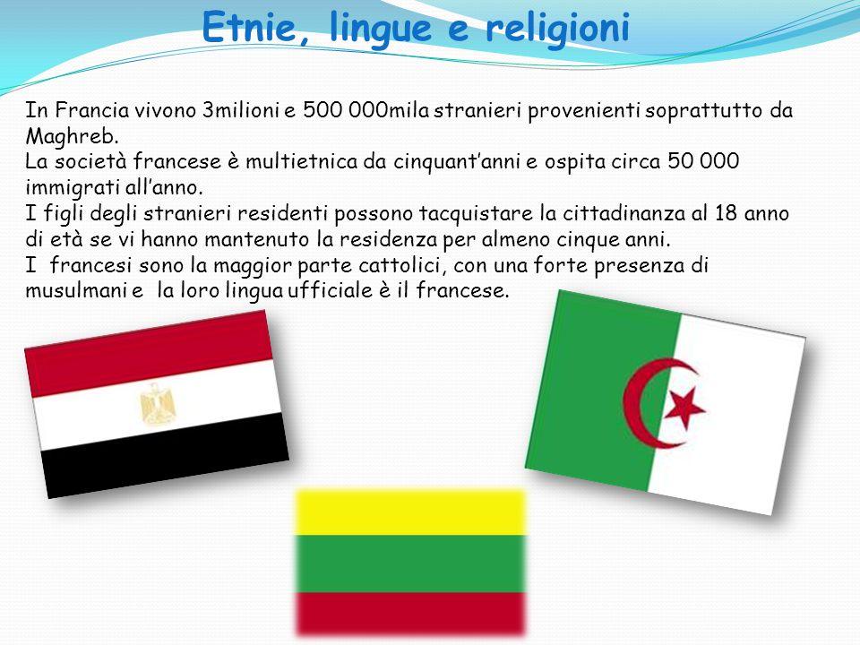 Etnie, lingue e religioni In Francia vivono 3milioni e 500 000mila stranieri provenienti soprattutto da Maghreb. La società francese è multietnica da