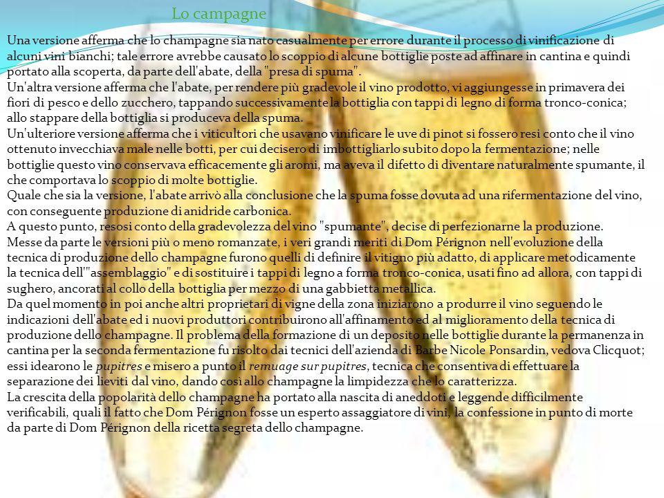 Una versione afferma che lo champagne sia nato casualmente per errore durante il processo di vinificazione di alcuni vini bianchi; tale errore avrebbe