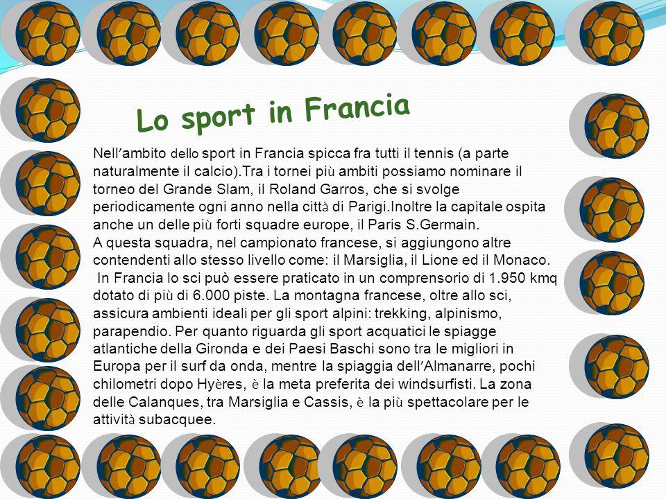 Lo sport in Francia Nell ' ambito dello sport in Francia spicca fra tutti il tennis (a parte naturalmente il calcio).Tra i tornei pi ù ambiti possiamo