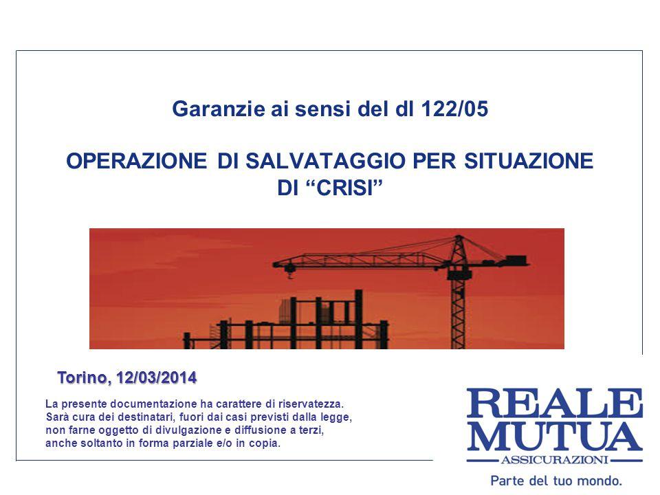 Garanzie ai sensi del dl 122/05 OPERAZIONE DI SALVATAGGIO PER SITUAZIONE DI CRISI La presente documentazione ha carattere di riservatezza.