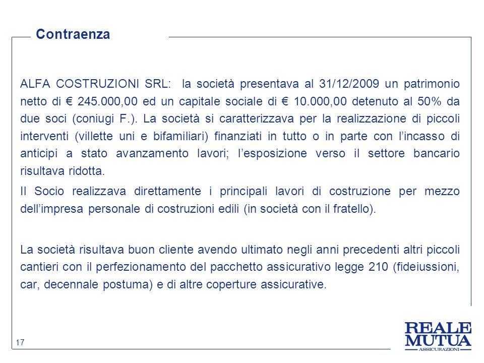 ALFA COSTRUZIONI SRL: la società presentava al 31/12/2009 un patrimonio netto di € 245.000,00 ed un capitale sociale di € 10.000,00 detenuto al 50% da due soci (coniugi F.).