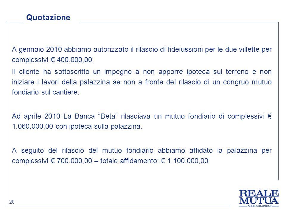 Quotazione A gennaio 2010 abbiamo autorizzato il rilascio di fideiussioni per le due villette per complessivi € 400.000,00.