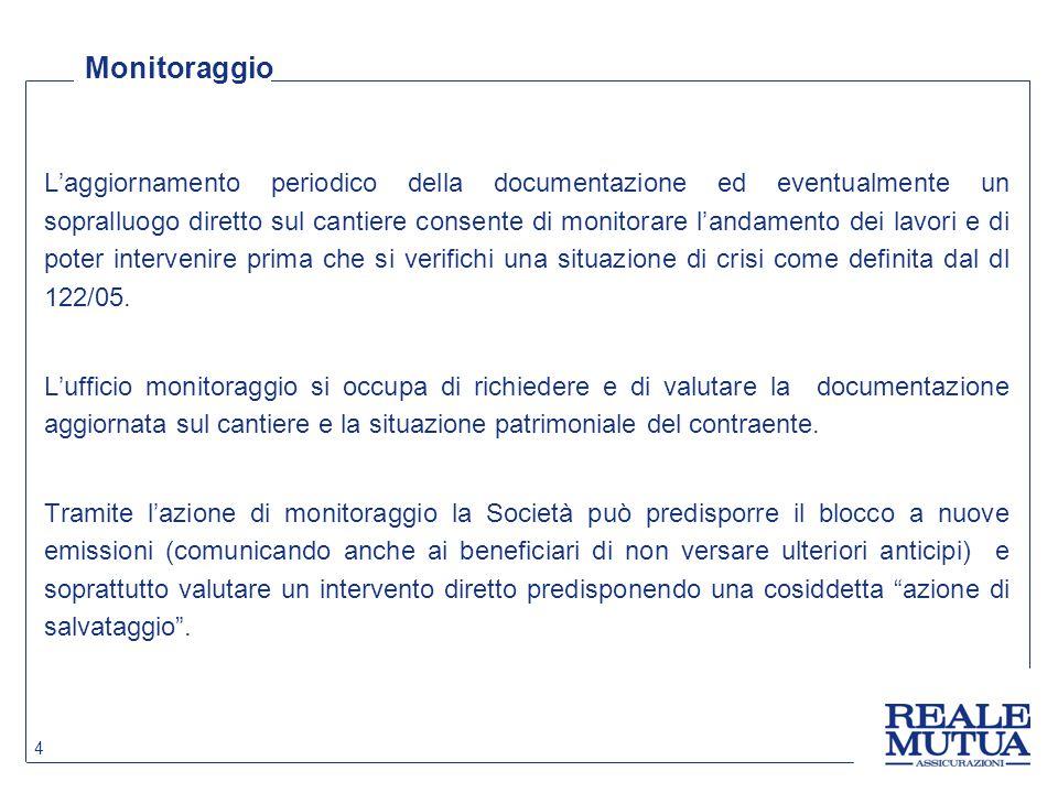 Convenzione / accordo quadro con il cliente L'azione dell'ufficio monitoraggio è più efficace nel caso in cui la Compagnia ha sottoscritto convenzione o accordo quadro con il cliente.