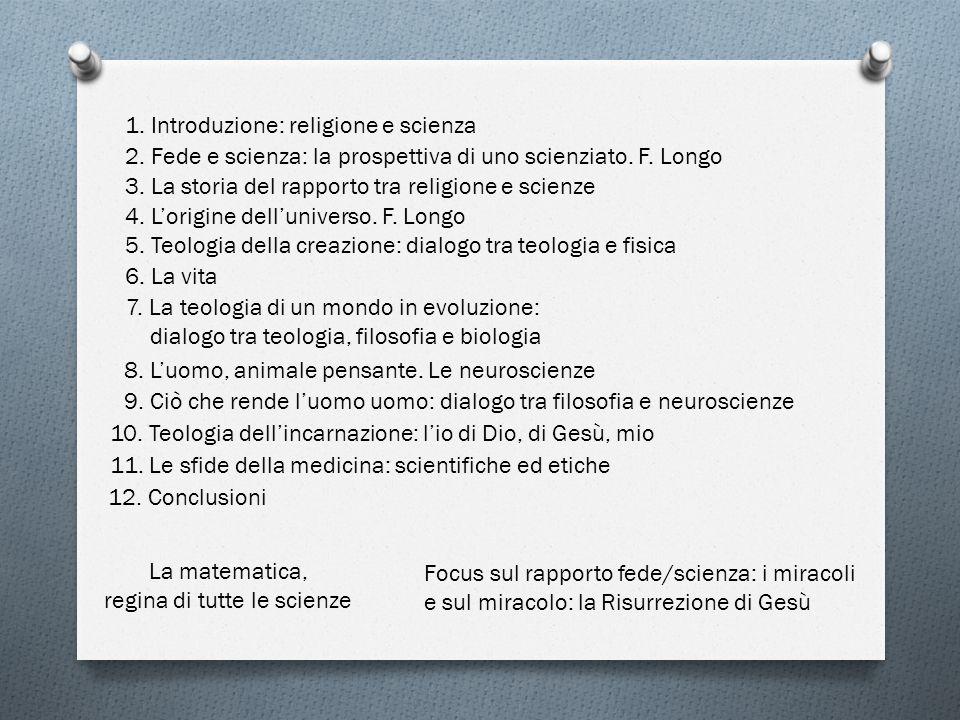 1.Introduzione: religione e scienza 2. Fede e scienza: la prospettiva di uno scienziato.