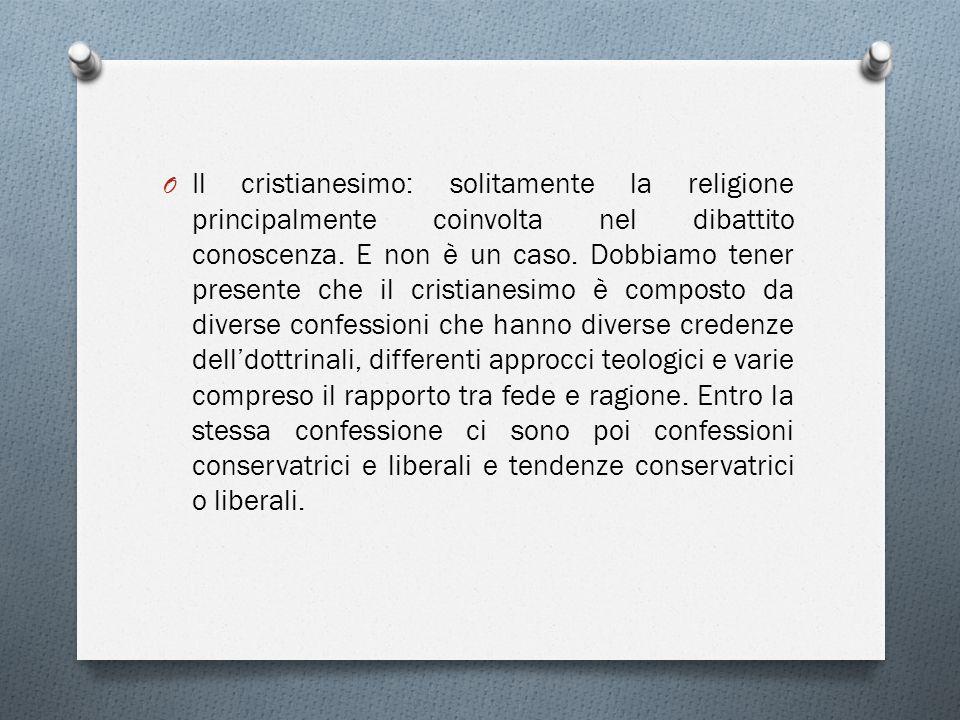O Il cristianesimo: solitamente la religione principalmente coinvolta nel dibattito conoscenza.