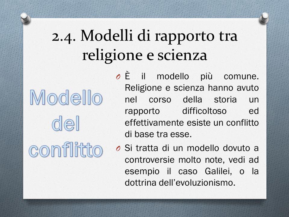 2.4.Modelli di rapporto tra religione e scienza O È il modello più comune.