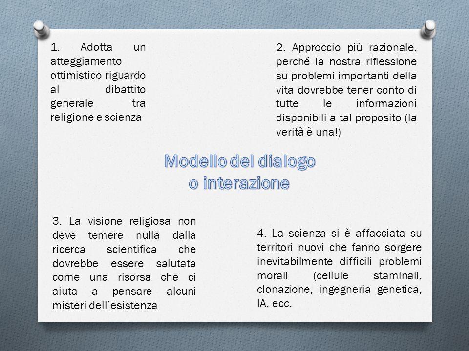 1.Adotta un atteggiamento ottimistico riguardo al dibattito generale tra religione e scienza 2.