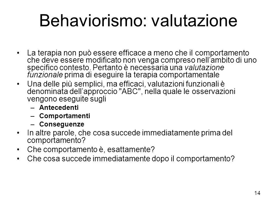 14 Behaviorismo: valutazione La terapia non può essere efficace a meno che il comportamento che deve essere modificato non venga compreso nell'ambito