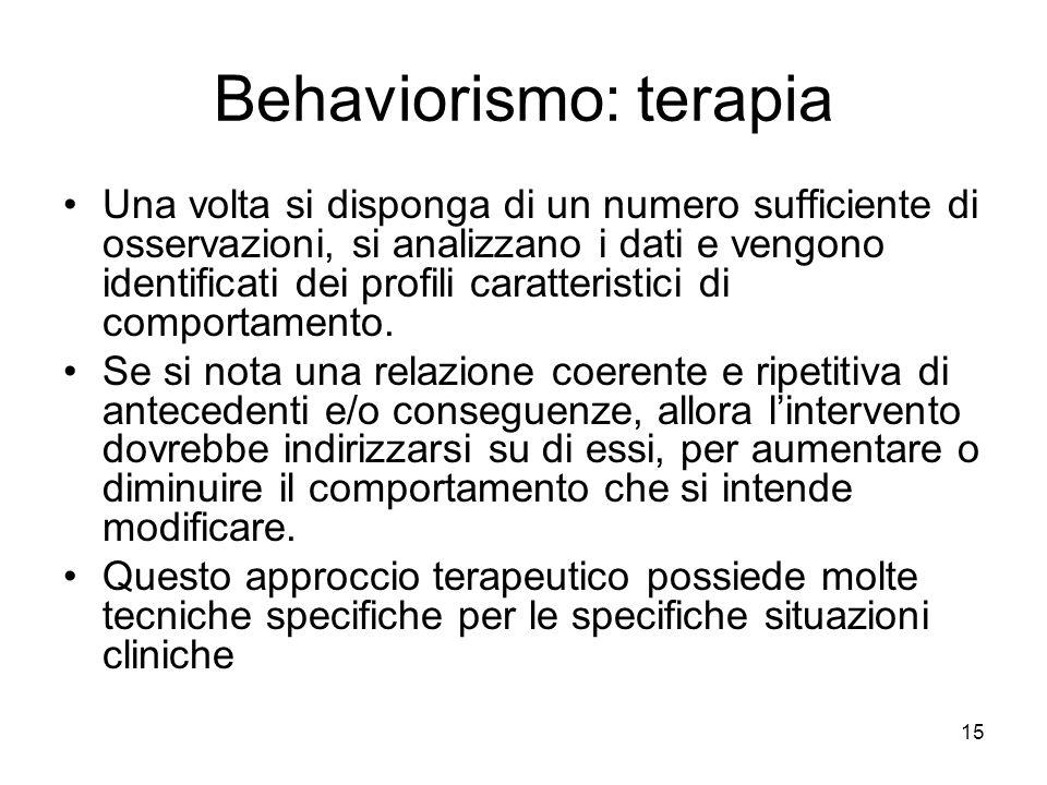 15 Behaviorismo: terapia Una volta si disponga di un numero sufficiente di osservazioni, si analizzano i dati e vengono identificati dei profili carat