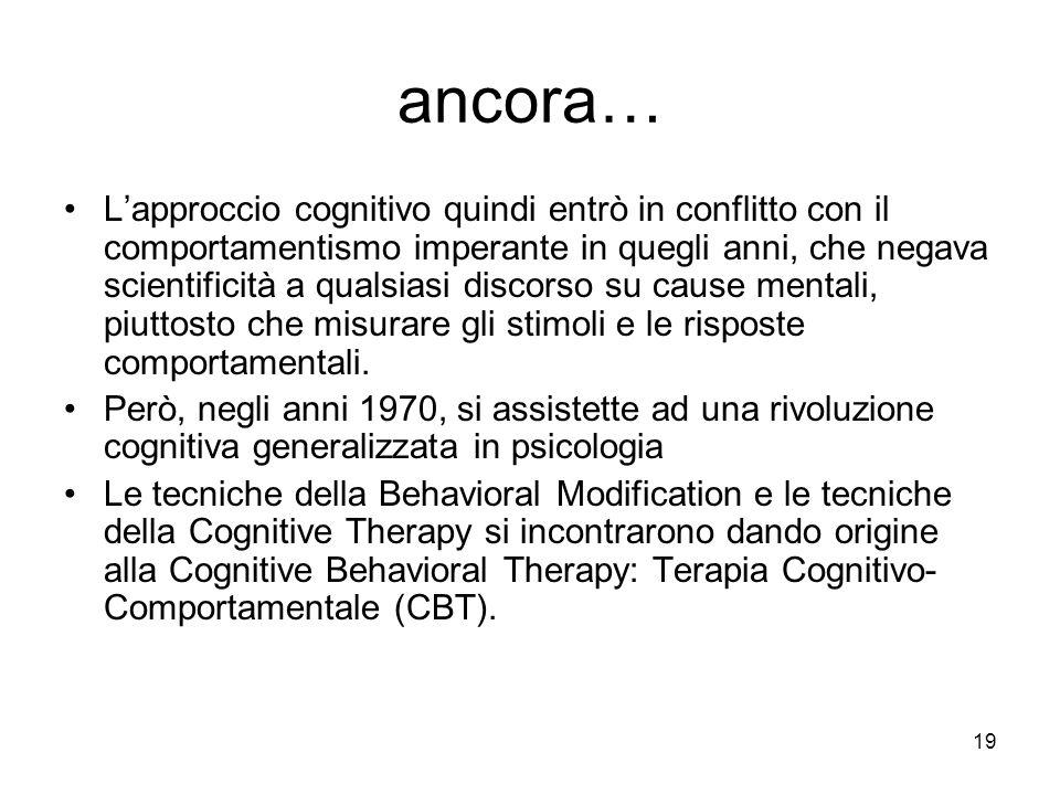 19 ancora… L'approccio cognitivo quindi entrò in conflitto con il comportamentismo imperante in quegli anni, che negava scientificità a qualsiasi disc