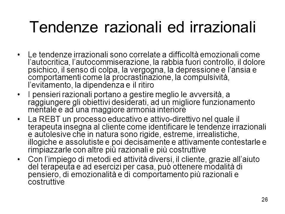 26 Tendenze razionali ed irrazionali Le tendenze irrazionali sono correlate a difficoltà emozionali come l'autocritica, l'autocommiserazione, la rabbi