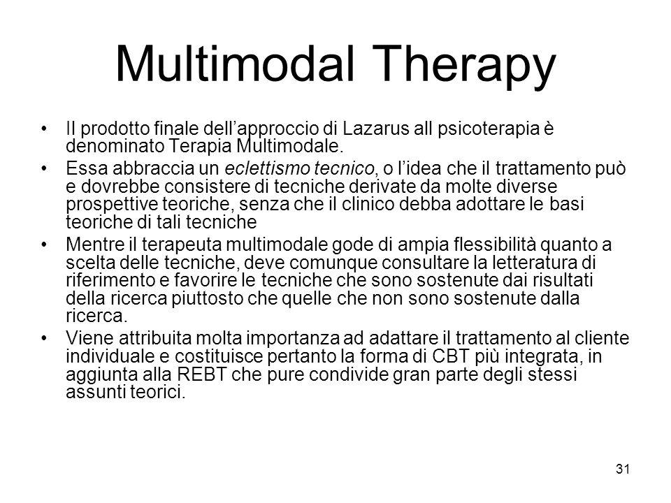31 Multimodal Therapy Il prodotto finale dell'approccio di Lazarus all psicoterapia è denominato Terapia Multimodale. Essa abbraccia un eclettismo tec