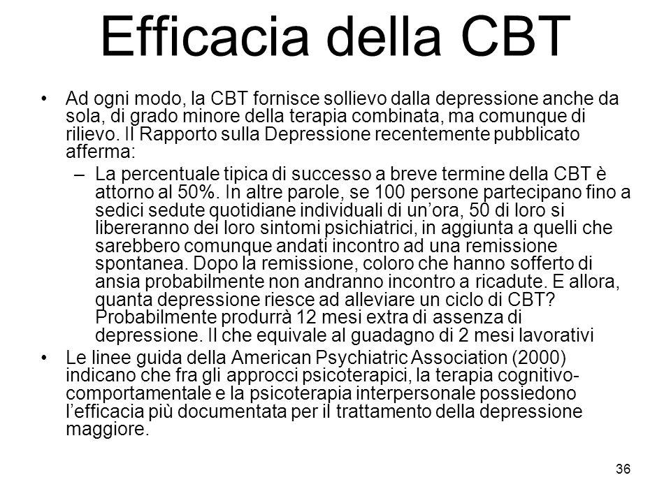 36 Efficacia della CBT Ad ogni modo, la CBT fornisce sollievo dalla depressione anche da sola, di grado minore della terapia combinata, ma comunque di