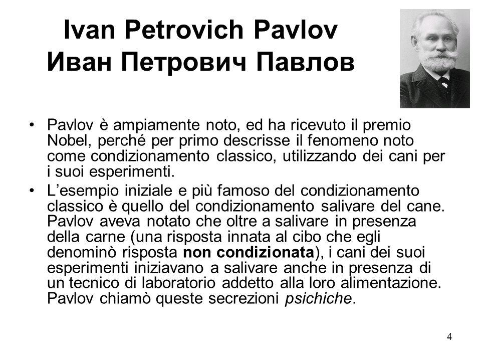 5 L'esperimento di Pavlov Da queste osservazioni egli predisse che, se un particolare stimolo nell'ambiente circostante al cane fosse presentato assieme alla carne, allora lo stimolo sarebbe divenuto associato al cibo ed avrebbe causato di per sé salivazione.