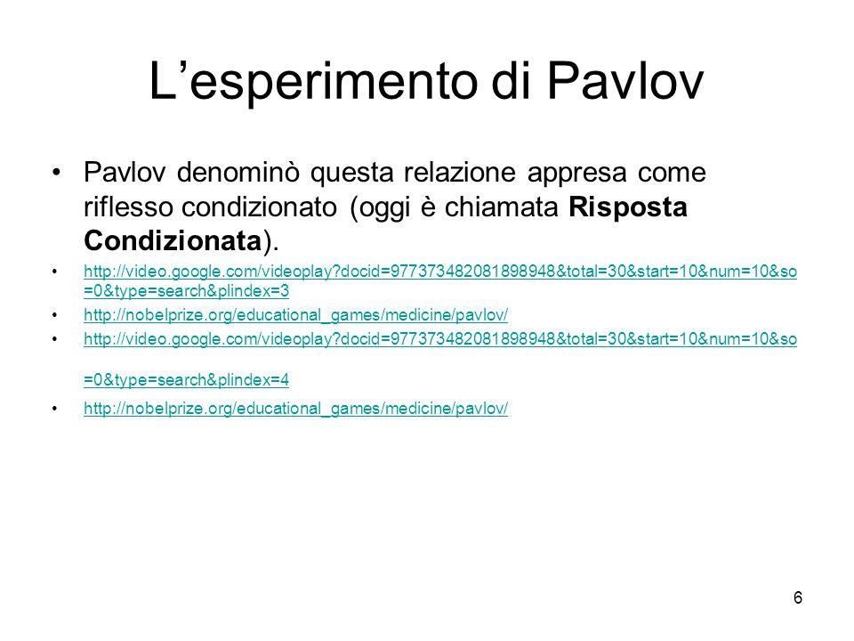 6 L'esperimento di Pavlov Pavlov denominò questa relazione appresa come riflesso condizionato (oggi è chiamata Risposta Condizionata). http://video.go