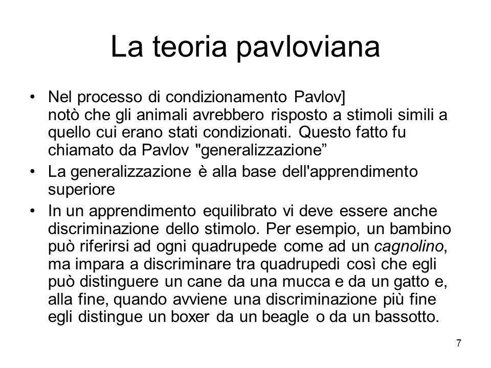 7 La teoria pavloviana Nel processo di condizionamento Pavlov] notò che gli animali avrebbero risposto a stimoli simili a quello cui erano stati condi