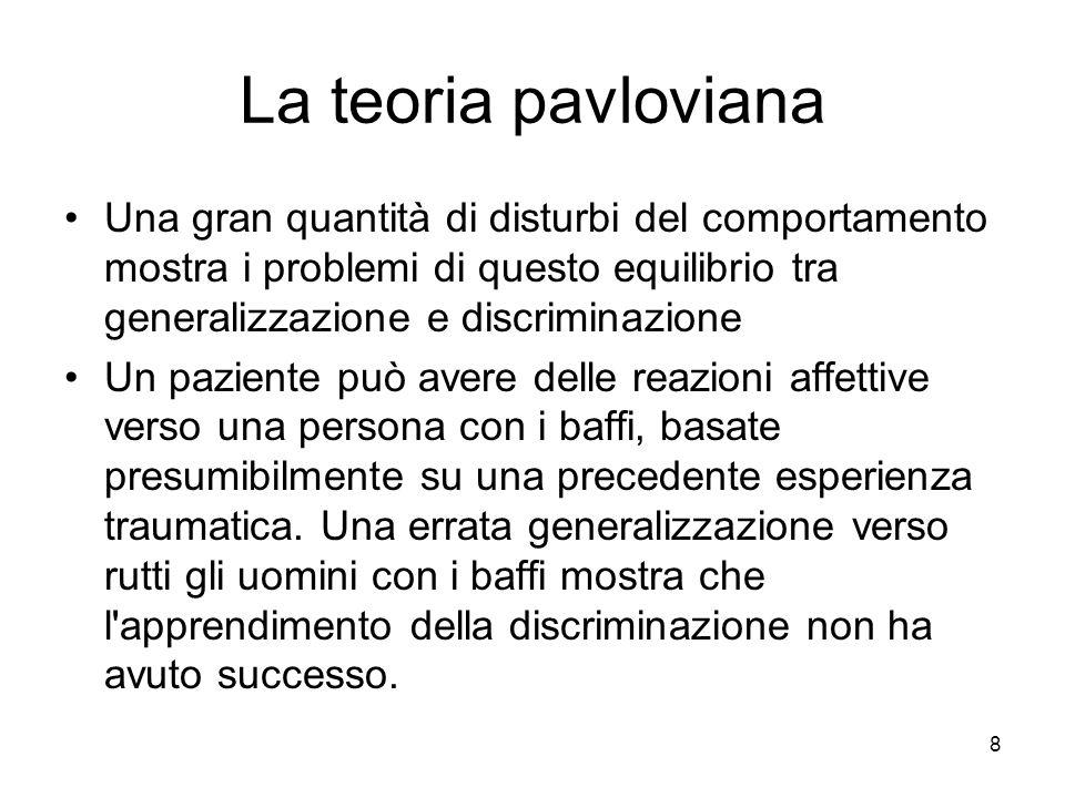 8 La teoria pavloviana Una gran quantità di disturbi del comportamento mostra i problemi di questo equilibrio tra generalizzazione e discriminazione U
