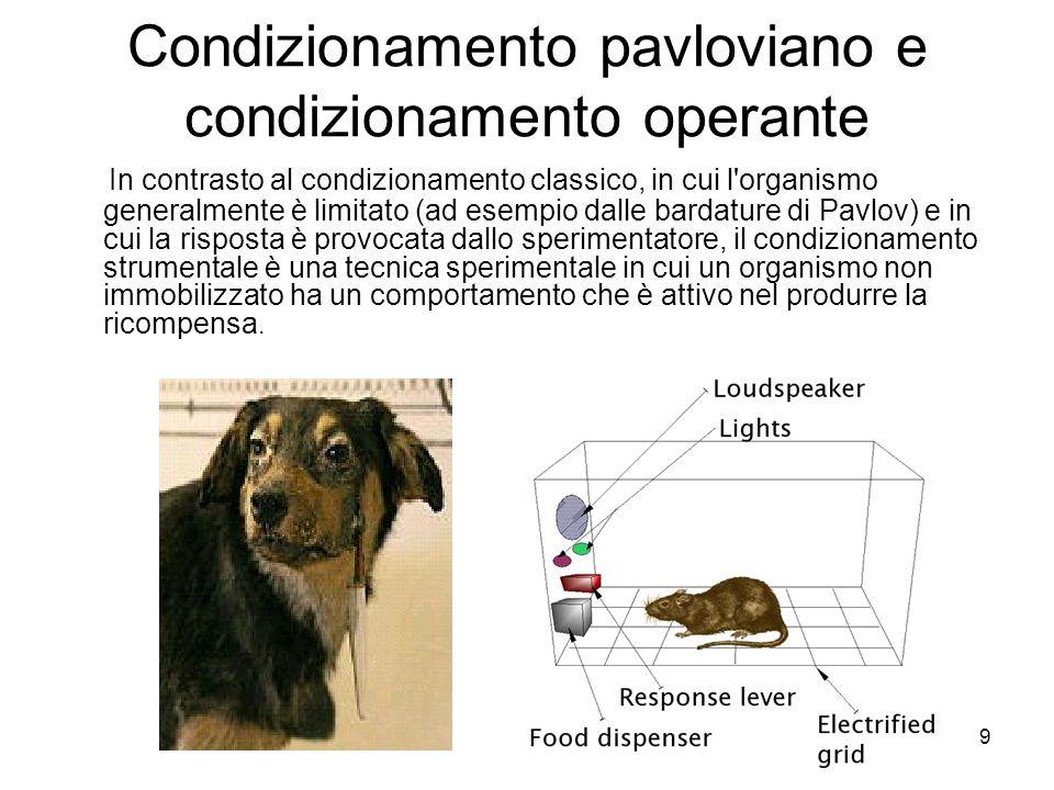9 Condizionamento pavloviano e condizionamento operante In contrasto al condizionamento classico, in cui l'organismo generalmente è limitato (ad esemp