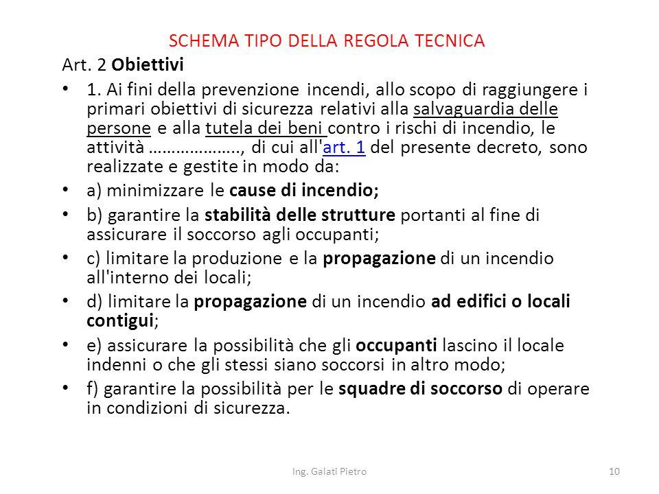 SCHEMA TIPO DELLA REGOLA TECNICA Art. 2 Obiettivi 1.