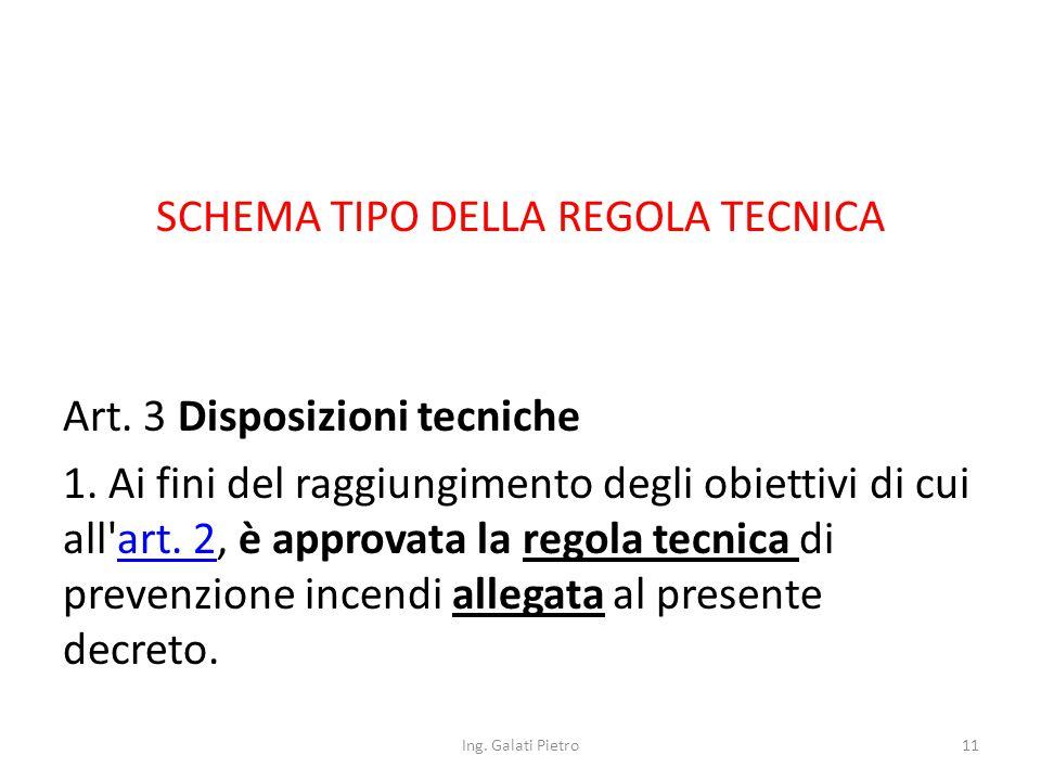 SCHEMA TIPO DELLA REGOLA TECNICA Art. 3 Disposizioni tecniche 1.