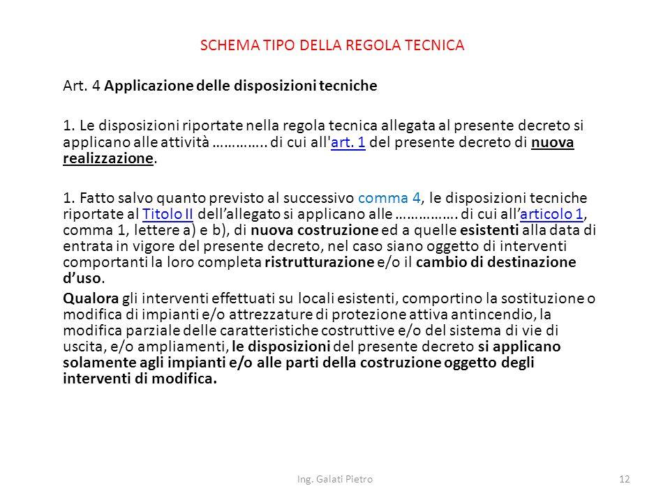 SCHEMA TIPO DELLA REGOLA TECNICA Art. 4 Applicazione delle disposizioni tecniche 1.