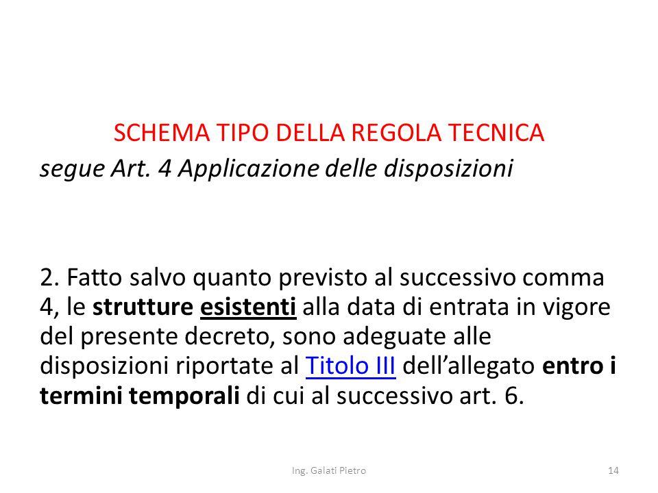 SCHEMA TIPO DELLA REGOLA TECNICA segue Art. 4 Applicazione delle disposizioni 2.