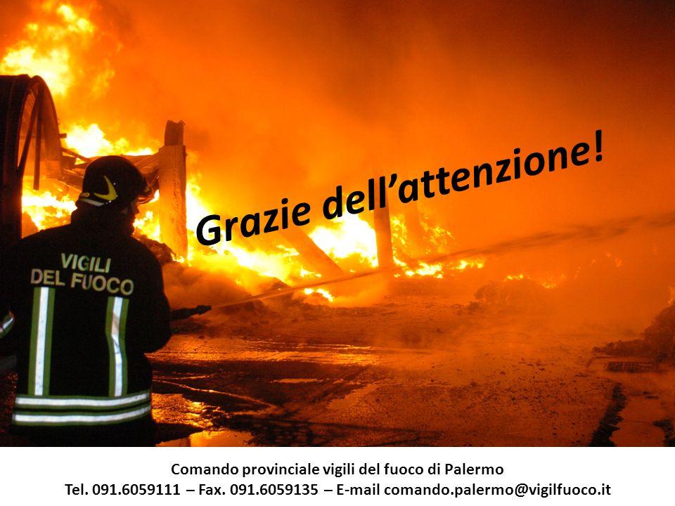 Grazie dell'attenzione. Comando provinciale vigili del fuoco di Palermo Tel.