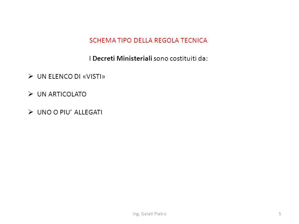 SCHEMA TIPO DELLA REGOLA TECNICA Art.
