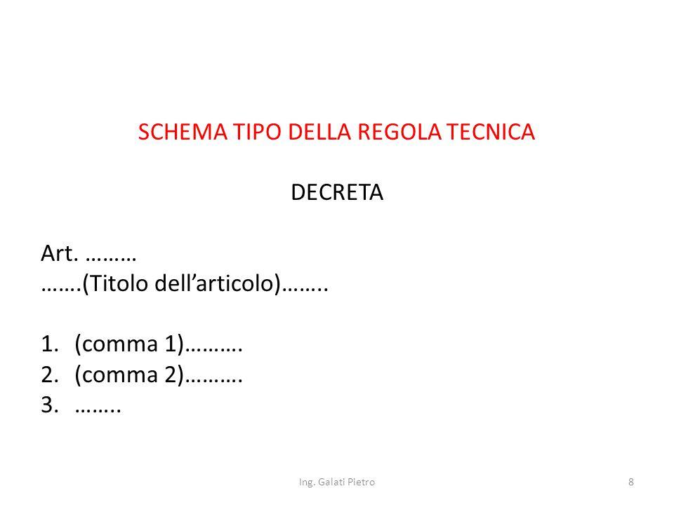 SCHEMA TIPO DELLA REGOLA TECNICA DECRETA Art. ……… …….(Titolo dell'articolo)……..