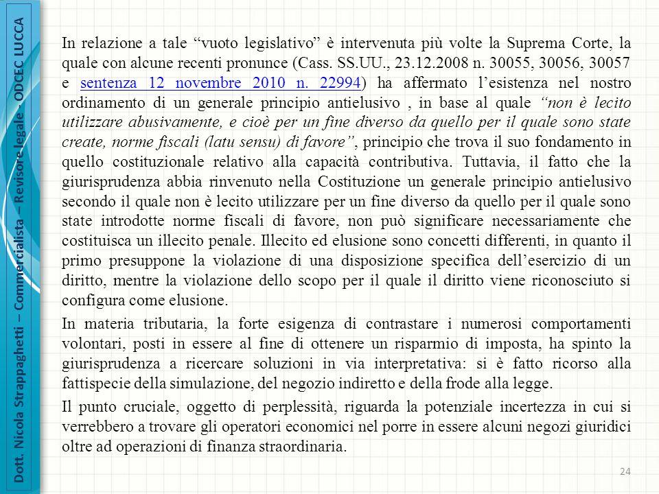 """Dott. Nicola Strappaghetti – Commercialista – Revisore legale - ODCEC LUCCA In relazione a tale """"vuoto legislativo"""" è intervenuta più volte la Suprema"""