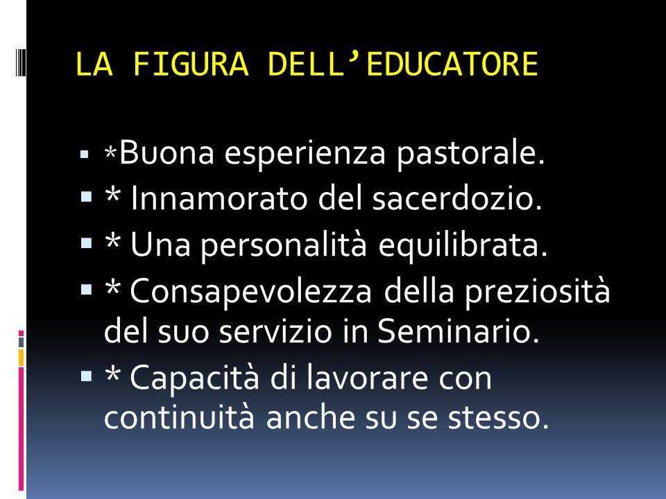 LA FIGURA DELL'EDUCATORE  * Buona esperienza pastorale.