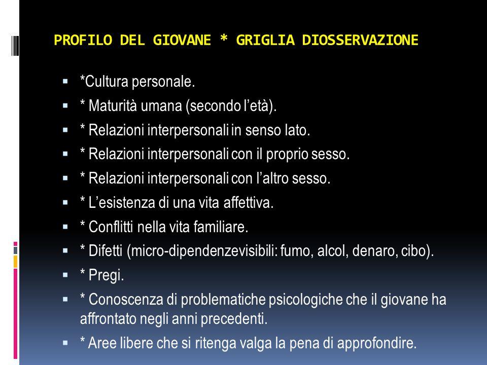 PROFILO DEL GIOVANE * GRIGLIA DIOSSERVAZIONE  *Cultura personale.