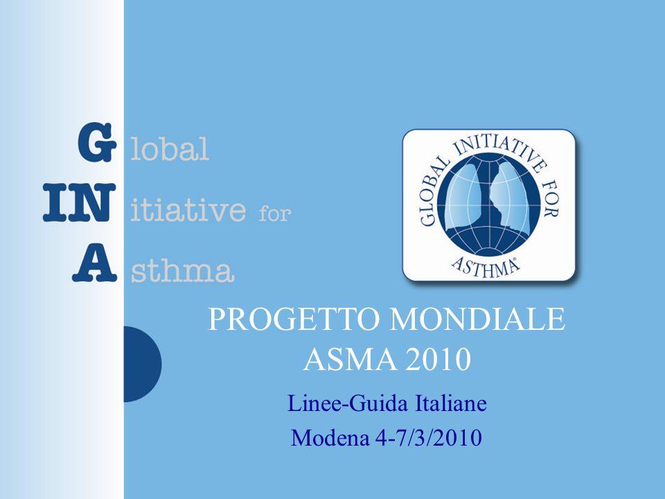 Progetto Mondiale ASMA 2010 Sintomi: tosse, sibili, dispnea, intolleranza allo sforzo Spirometri a Sindrome ostruttiva.