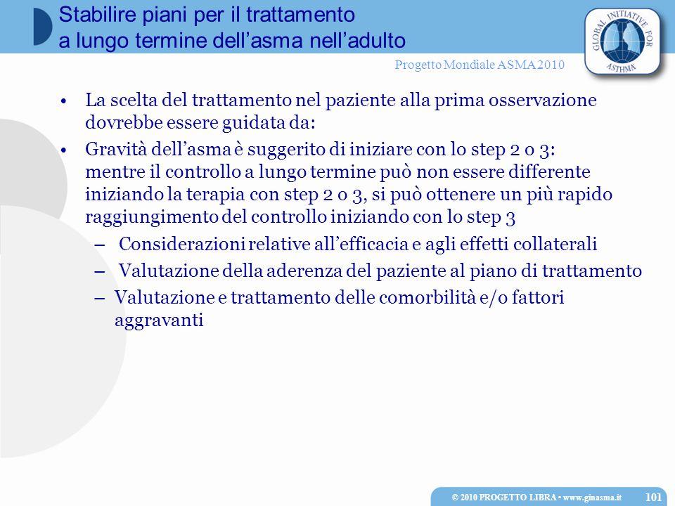 Progetto Mondiale ASMA 2010 La scelta del trattamento nel paziente alla prima osservazione dovrebbe essere guidata da: Gravità dell'asma è suggerito di iniziare con lo step 2 o 3: mentre il controllo a lungo termine può non essere differente iniziando la terapia con step 2 o 3, si può ottenere un più rapido raggiungimento del controllo iniziando con lo step 3 – Considerazioni relative all'efficacia e agli effetti collaterali – Valutazione della aderenza del paziente al piano di trattamento –Valutazione e trattamento delle comorbilità e/o fattori aggravanti © 2010 PROGETTO LIBRA www.ginasma.it 101 Stabilire piani per il trattamento a lungo termine dell'asma nell'adulto