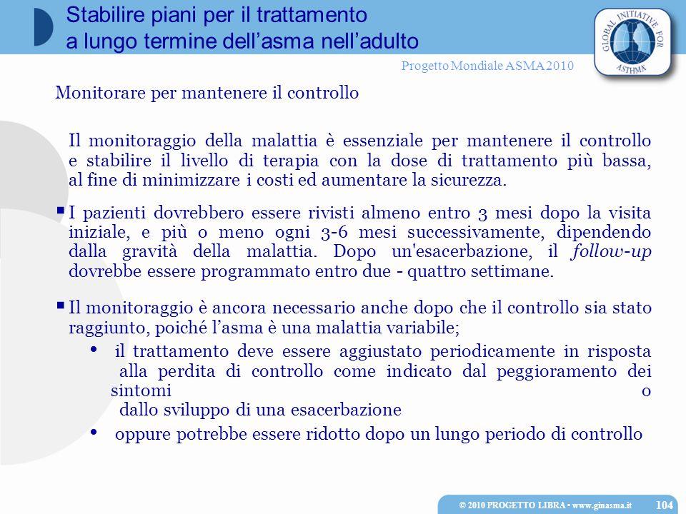 Progetto Mondiale ASMA 2010 Stabilire piani per il trattamento a lungo termine dell'asma nell'adulto Monitorare per mantenere il controllo Il monitora