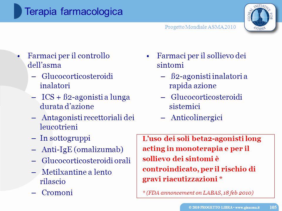 Progetto Mondiale ASMA 2010 Farmaci per il controllo dell'asma – Glucocorticosteroidi inalatori – ICS + ß2-agonisti a lunga durata d'azione – Antagonisti recettoriali dei leucotrieni –In sottogruppi – Anti-IgE (omalizumab) – Glucocorticosteroidi orali – Metilxantine a lento rilascio – Cromoni Farmaci per il sollievo dei sintomi – ß2-agonisti inalatori a rapida azione – Glucocorticosteroidi sistemici – Anticolinergici © 2010 PROGETTO LIBRA www.ginasma.it 105 Terapia farmacologica L'uso dei soli beta2-agonisti long acting in monoterapia e per il sollievo dei sintomi è controindicato, per il rischio di gravi riacutizzazioni * * (FDA annoncement on LABAS, 18 feb 2010)