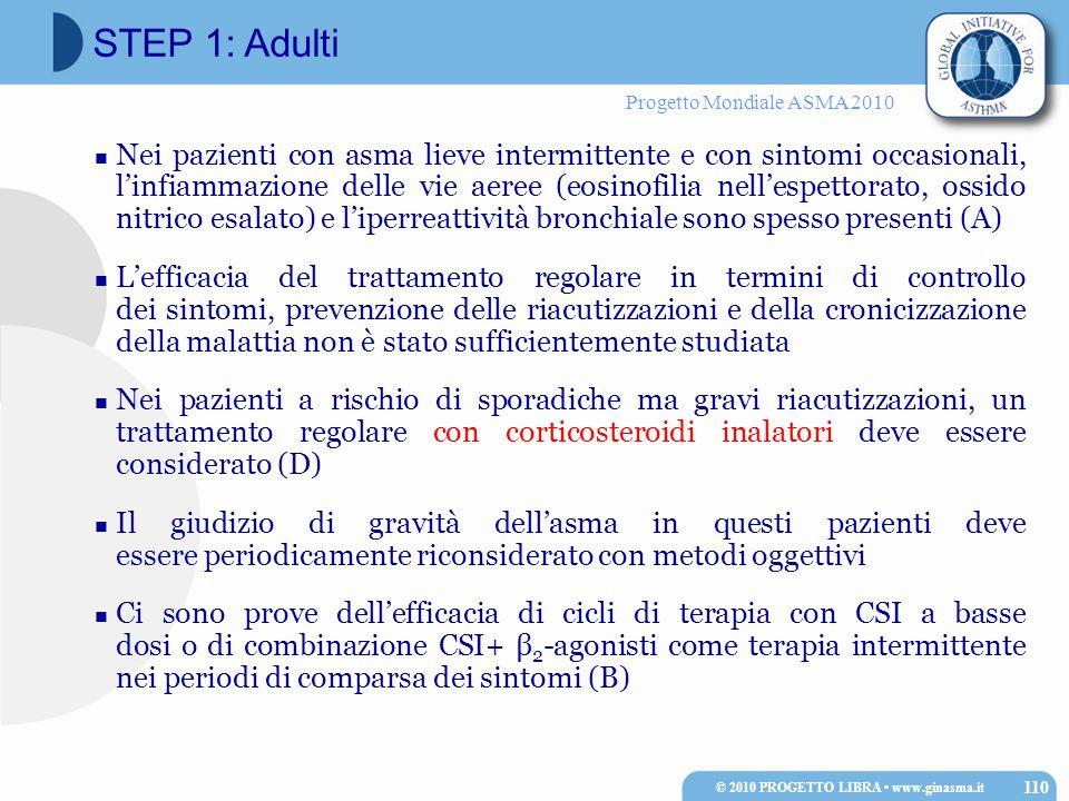 Progetto Mondiale ASMA 2010 Nei pazienti con asma lieve intermittente e con sintomi occasionali, l'infiammazione delle vie aeree (eosinofilia nell'esp